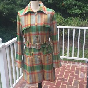 Gorgeous Wool Plaid Trench Coat - L